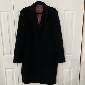KENZO   Long Black Wool Cashmere OverCoat L